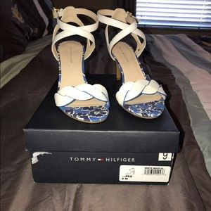 Tommy Hilfiger White & Blue Women High Heel Shoes